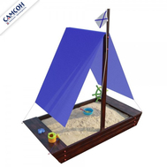 Песочница детская - САМСОН ЛАДЬЯ венге, крыша ткань, фото 1